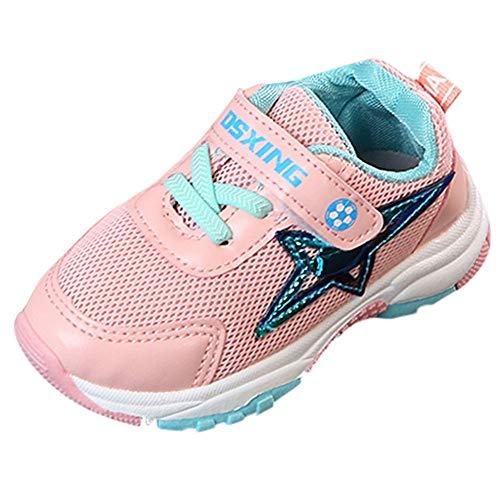 Alaso Chaussures Bébé Scarpe da ginnastica per bambini, ragazzi, ragazze, colore: nero, per la scuola, scarpe da calcio, tennis, scarpe da corsa, taglia 15-25 Rosa 23