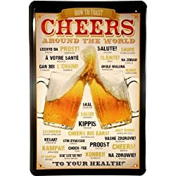 Cartel de chapa Cheers arround The World Beer Cerveza 20 x 30 cm Diseño Retro 792