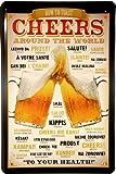 Cartel de Chapa Cheers Arround The World Beer Cerveza 20x 30cm Diseño Retro 792