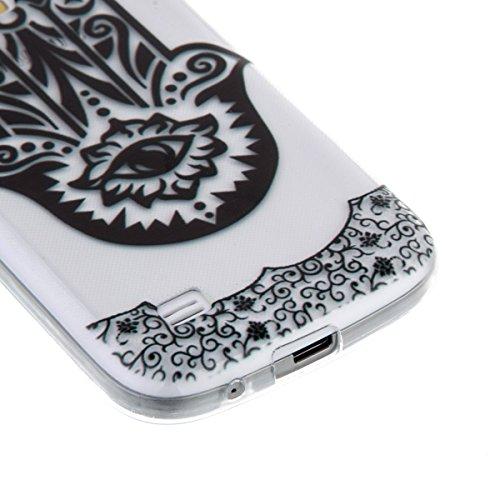 Ekakashop Coque pour Samsung Galaxy S4 Mini I9190, Ultra Slim-Fit Flexible Souple Housse Etui Back Case Cas en Silicone pour Galaxy S4 Mini, Soft Cristal Clair TPU Gel imprimée Couverture Bumper de Pr Palm Fleur
