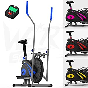 We R Sports 2-IN-1 Elliptical Cross Trainer & Exercise Bike Home Fitness Cardio Workout Machine (Blue)