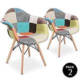 Mc Haus Aura X2 Pack 2 sillones Vintage Silla Comedor Cocina diseño Patchwork Multicolor,...