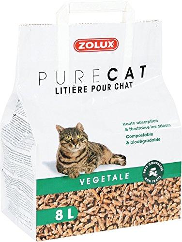Litière pour chat PURE CAT végétale bois compressé non traité 8 L haute absorption, neutralise les odeurs