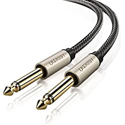 UGREEN Câble Audio Jack 6.35mm vers 6.35mm Cordon Nylon Tressé pour Guitare Basse Clavier Amplificateur Chaîne Hifi Enceinte Table de Mixage (2 M)