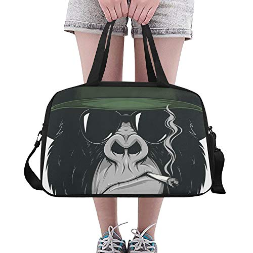 Cool Monkey Schimpanse King Of Forest Animal Benutzerdefinierte Große Yoga Gym Totes Fitness Handtaschen Reise Seesäcke mit Schultergurt Schuhbeutel für die Übung Gepäck für Mädchen Frauen Frauen