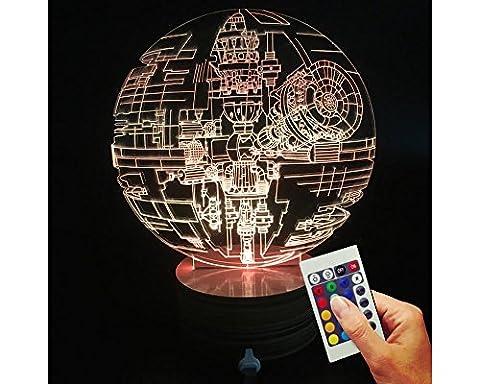 Lampe déco étoile de la mort Star Wars ouvert (hologramme 3D Illusion)