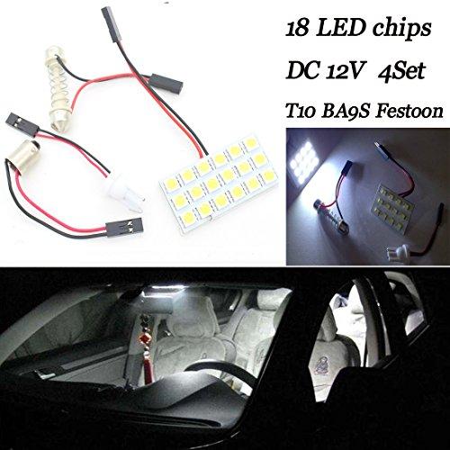 Voiture 12 V Intérieur Doom Festoon lampe BA9S T10 Panneau léger (lot de 4)