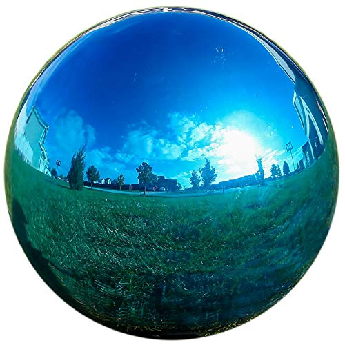 LilysHome Glas Gazing Ball Spiegel Ball Garten Ball in Blau 12 Blau -