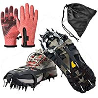 Agarres de Hielo para Zapatos y Botas, 14 Dientes, Acero Inoxidable, Dispositivos de tracción de Invierno para Escalada, Pesca, Caza, Correr, Caminar sobre Hielo y Nieve, Medium