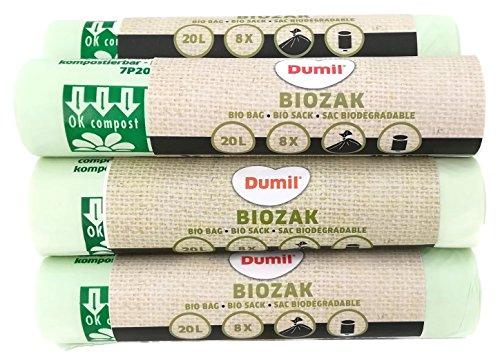 72 Stück 20 Liter Bio-Müllbeutel 45x50 cm, DIN EN 13432, 100% kompostierbar & biologisch abbaubar, reißfest, Biobeutel 20L, Abfallbeutel für Küchen-Mülleimer & Biotonne & Kompost