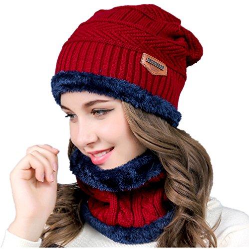Hellofuture Beanie Hat Skull Cap Chaud Knit Hat écharpe ensemble pour hommes et femmes cadeau de Noël
