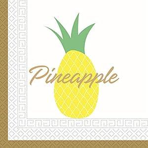 PROCOS 90598 Ananas - Servilletas (20 Unidades), Color Dorado, Blanco y Amarillo
