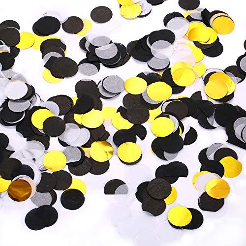 Papier Konfetti Runde Tissue Konfetti Luftballons Tisch-Konfetti für Hochzeit Geburtstagsparty Dekoration, 1 Zoll Schwarz + weiß + gold