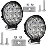 AllExtreme 14 LED Round Fog Light 4D CREE LED Fog Lamp Flood Beam Auxiliary LED Light Bulb With Mounting Bracket for Bike Off-road Motorcycle Truck Car ATV SUV Jeep (42W, White, Pack of 2)