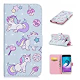 Samsung Galaxy J3 2016 case holster wallet credit card slot features pu leather magnetic off stent function 3D cartoon pattern design protective DECHYI case unicorn