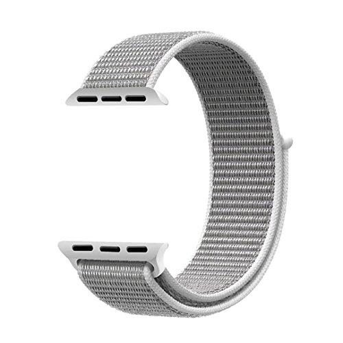 Bossy Apple Watch Armband 42mm, Klettverschluss und gewebtes Nylon Sport Ersatz Uhrenarmbänderfür Apple Watch Series 1/2/3, Nike+, Sport, Edition-Seashell