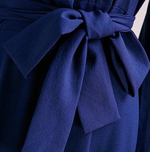 Smile YKK Femme Robe de Soirée Longue Robes Grande Taille Cérémonie Anniversaire Vintage Bleu
