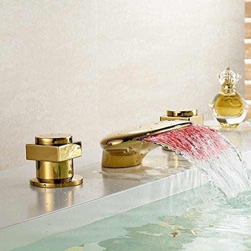 LED colori cascata vasca da bagno Filler rubinetto 3fori lavabo