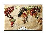 Dsign24 Weltkarte edel als Leinwandbild Wandbild 150 x 100 cm - Wanddeko, Kunstdruck, Keilrahmen Globus Welt der Gewürze A05025