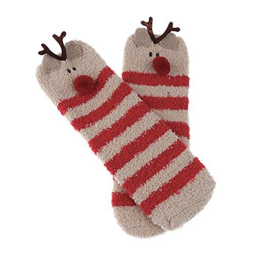 en Fleece Socken Weihnachten Haussocken für Damen Herren Geschenk - Elch, wie beschrieben (Damen-santa Anzug)