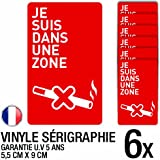 Lot de 6 autocollants / stickers interdit de fumer / 5.5 cm x 9 cm