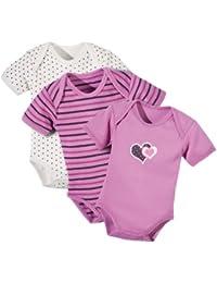 Baby Butt Body 3er-Pack mit Druckmotiv Herz Interlock-Jersey