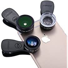 Mpow 3 en 1 Universal Kit Objectif Fisheye Clip-On 0.33 x Suprême Fisheye + 0.36 x Objectif grand angle + 20 x Objectif Macro pour iPad, iPhone 6 6s 6 Plus, iPhone SE, iPhone 5s 5c 4s, Samsung Galaxy S6/S6 Edge S7/S7 Edge S5/S4/S3, Huawei, Wiko, one plus, Plupart des Smartphones application android