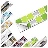 Wandaro 1 Stück Fliesenaufkleber 25,3 x 3,7 cm hellgrün grün Silber Design 9 I 3D Aufkleber Fliesenfolie Mosaik Bad Küche W3467