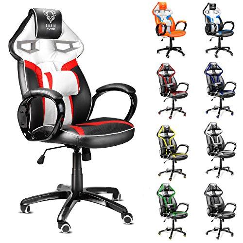 Diablo X-Gamer silla de oficino, silla de gaming, silla de escritorio (negro-blanco-rojo)