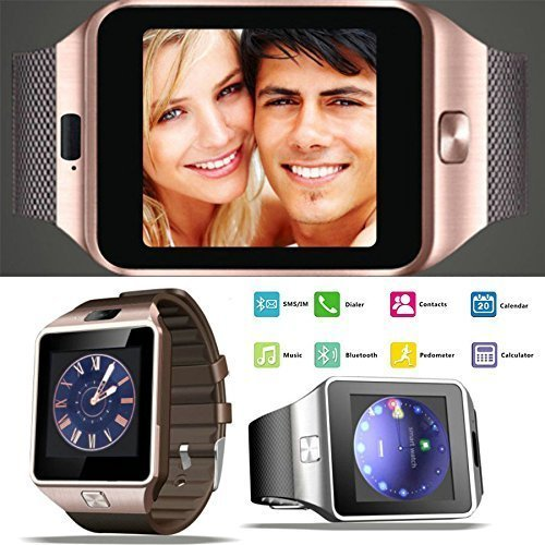 JOKIN Oppo Joy Plus R1011 Compatible Bluetooth Smart Watch With Camera, Sim Card and Multilanguage Support   Apps like Facebook, Touch Screen and WhatsApp   Compatible with all Android Mobile Phones (Samsung, Oppo, Vivo, Gionee, Xiomi, Sony, Philips, Motorola) Golden Colour  available at amazon for Rs.1380