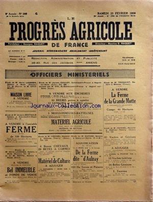 PROGRES AGRICOLE DE FRANCE (LE) [No 398] du 21/02/1959 - officiers ministeriels - paul daizac - - bertil - agriculture par le francois et le bret - machinisme agricole par marguerin - les marches - causerie veterinaire par espouy - elevage par auger - aviculture par gallus - cidrerie par leveque