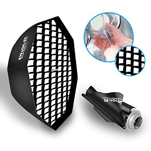 Phot-R 80cm Faltbare Schirm-Octabox Softbox Bowens S-Typ Mount Speedring + Innen- und Außendiffusoren 31' Zusammenklappbar Tragbar+Koffer...