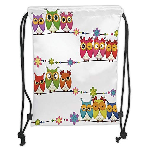 nted Drawstring Sack Backpacks Bags,Kids,Cute Angry Amusing Owls Eyes Sitting on a String of Flowers Branch Birds Decor Decorative, Soft Satin,The ()