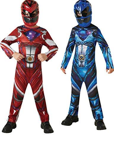 ers-Kinderkostüm für Paare Blau-Rot 122/134 (7-9 Jahre) (Power Ranger Maske Blau)