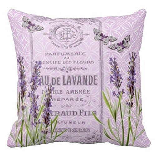 Damuyas Kissenbezug, Lavendelblumen, französisches Parfüm, Dekoration, baumwolle, lavendel, Size: 42*42cm/16.53*16.53 - Französisch Quadratische Kissen