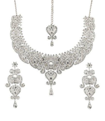 Touchstone indischen Bollywood Royal Look Marvelous Designer Schmuck Halskette Set mit Kristall weiß für Damen in Silber Ton.