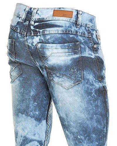 BLZ jeans - Jean homme bleu délavé surteint et usé Bleu