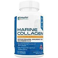 Collagène Marin Compltex 700mg - 120 capsules de qualité premium Aider à promouvoir les cellules saines de la peau et la fonction normale des vaisseaux sanguins - Contient du collagène, de l'acide hyaluronique et des vitamines C & E