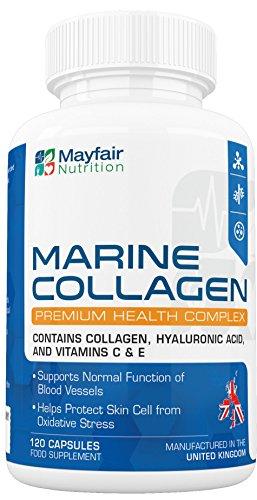 Marine Collagen Komplex 700mg - 120 Kollagen Hydrolysat Kapseln für eine gesündere Haut, verbesserte Hautzellen und eine normale Funktion der Blutgefäße – Pulver in Kapselform, beinhaltet Kollagen, Hyaluronsäure und Vitamin C & E