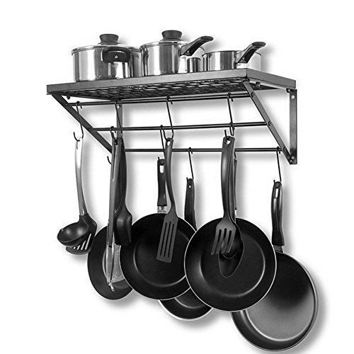 lyrlody Pan Pot Rack, 3-Tier Wandhalterung Pot Pan Rack Küchenutensilien Aufhänger Speicherorganisator Herd Aufhängeschiene Schwarz Metall Geschirr Display Regal mit 10 Haken für Home Restaurant -