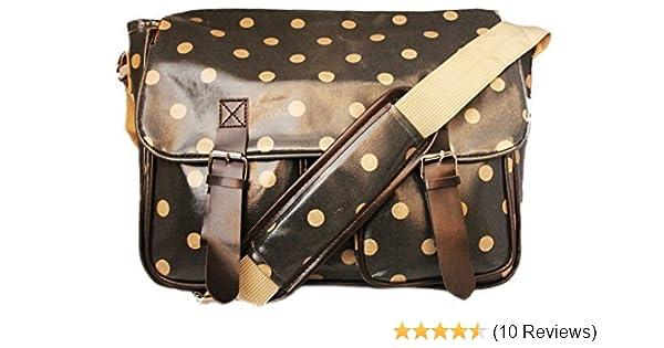 Faux Leather Polka Dots Satchel Cross Body Messenger Bag Spots School College