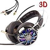 KINDEN Casque Gaming USB Microphone Over Ear Casque 3D Sound casque Isolation phonique Volume glühend Ordinateur Hypothétique 7.1 Surround avec 4 dynamiques lumière LED de haut-parleur pour PC