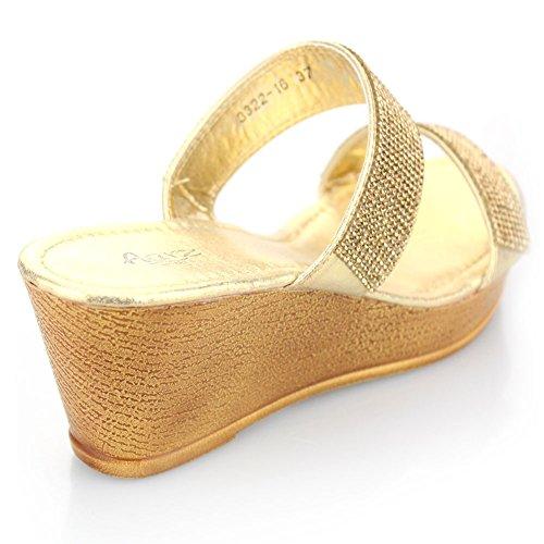 Femmes Dames Double Sangle Diamante Glisser sur Talon compensé Soir Décontractée Fête Bal de promo Mariage Des sandales Chaussures Taille Or