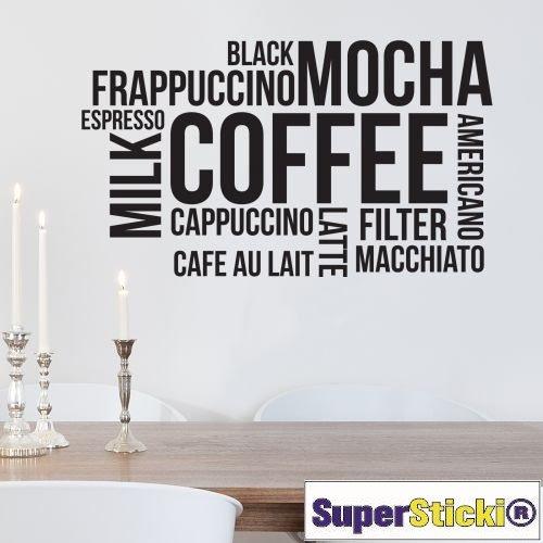 Preisvergleich Produktbild Kaffee Mocha Cappuccino Set 60x60 Wandtattoo Aufkleber Decal von SUPERSTICKI® aus Hochleistungsfolie für alle glatten Flächen UV und Waschanlagenfest Profi Qualität