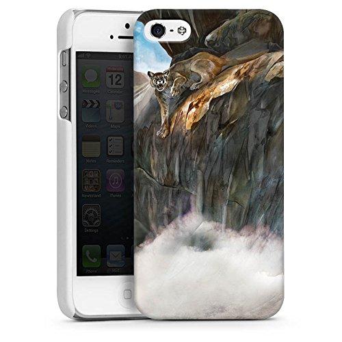 Apple iPhone 4 Housse Étui Silicone Coque Protection Félin Sauvage CasDur blanc