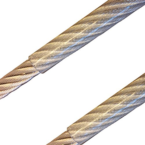 30 Meter - Edelstahldrahtseil 7x7 2mm/3mm PVC-transparent ummantelt V4A Inox rostfrei Drahtseil Stahlseil Geländerseil -