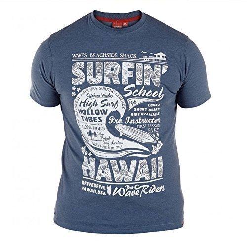 Duke Groß Hoch King-size Herren Reine Baumwolle Ernie Oder Francis Surf T-shirt Top Francis - Blau Noppe Twist
