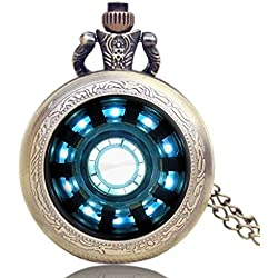 Iron Man Tony Stark Arc Reactor Quartz Pocket Watch Necklace - Antique Bronze Effect - GIFT BOXED WITH FREE SPARE BATTERY