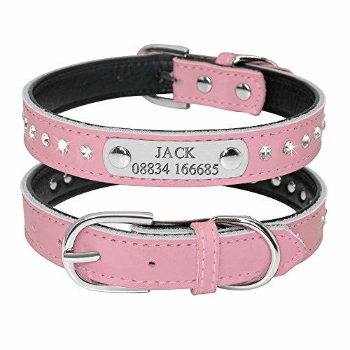 Didog - Collar para Perro con Grabado de identificación con Placa de identificación con Diamantes de imitación Acolchados, Collar de Piel Personalizado para Perros y Gatos pequeños y medianos