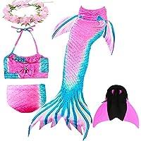 DECOOL Traje de baño Girl Sirena Cola - Princesa Cosplay Traje de baño para Fiesta de natación con Bikini y Monofin, Set 4 Piezas